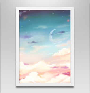 Волшебное небо - Постер в белой раме, нежность