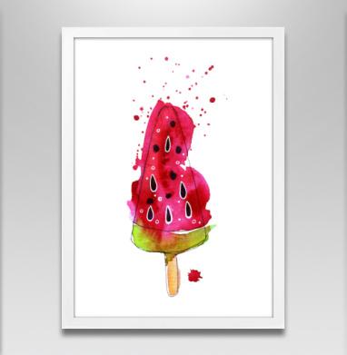 Арбузное мороженное - Постер в белой раме, мороженое