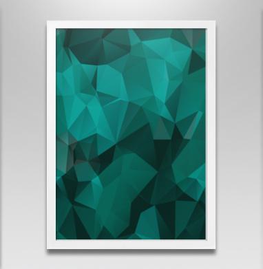 Изумруд  - Постер в белой раме, геометрия