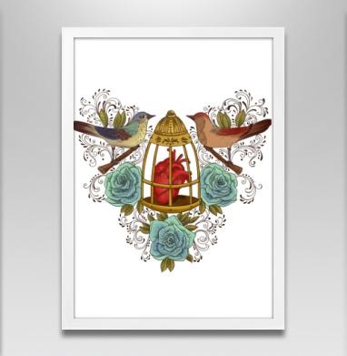 Узор с птичками - Постер в белой раме, розы