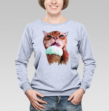 Кот который любит мороженое  - Купить детские свитшоты с мороженным в Москве, цена детских свитшотов с мороженным  с прикольными принтами - магазин дизайнерской одежды MaryJane