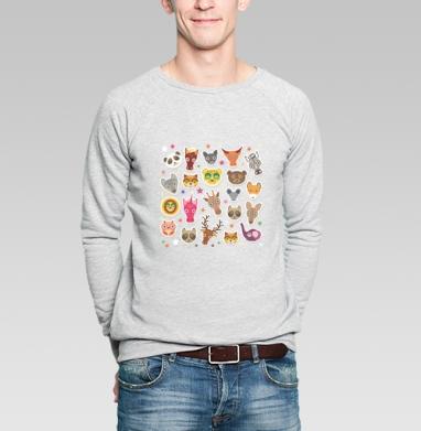 Животные панда олень жираф зебра слон лев кот волк лошадь лиса енот - Купить мужские свитшоты с кошками в Москве, цена мужских  с кошками  с прикольными принтами - магазин дизайнерской одежды MaryJane
