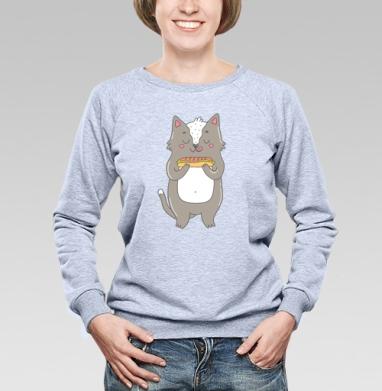 Кот и горячая собака - Купить детские свитшоты с едой в Москве, цена детских свитшотов с едой  с прикольными принтами - магазин дизайнерской одежды MaryJane
