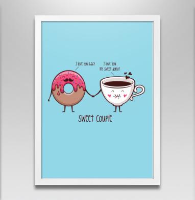 Пончик и кофе - Постер в белой раме, сладости