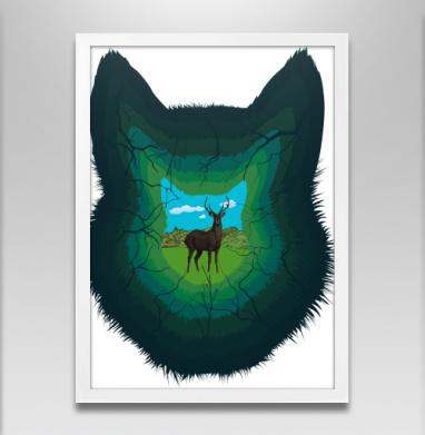 Лесная пещера - Постер в белой раме, волк
