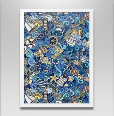 Море море... - Постер в белой раме, рыба