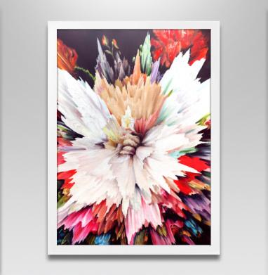 Цветочный взрыв - Постер в белой раме, живопись