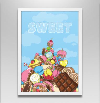 Гора сладостей - Постер в белой раме, сладости