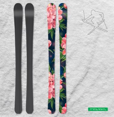 Розовые пионы на темно-синем фоне - Наклейки на лыжи