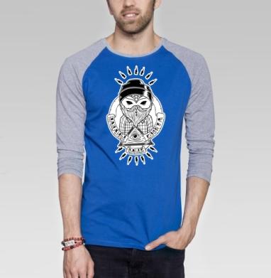 Пацаны ваще совята  - Футболка мужская с длинным рукавом синий / серый меланж, хипстер, Популярные