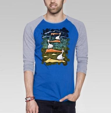 Птахи морские - Футболка мужская с длинным рукавом синий / серый меланж, лето, Популярные