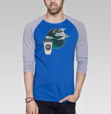 Время кофе - Футболка мужская с длинным рукавом синий / серый меланж, город, Популярные