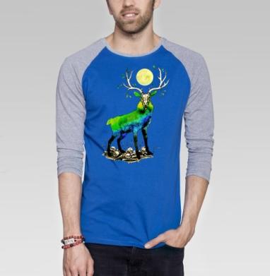 Дух ночного леса - Футболка мужская с длинным рукавом синий / серый меланж, природа, Популярные