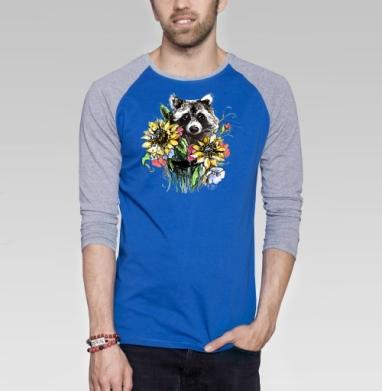 Енот цветочный - Футболка мужская с длинным рукавом синий / серый меланж, лето, Популярные