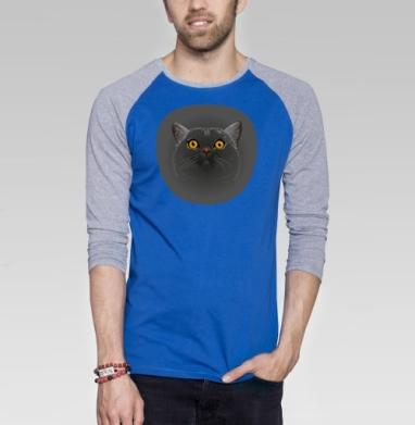 Котик любопытный - Футболка мужская с длинным рукавом синий / серый меланж, животные, Популярные
