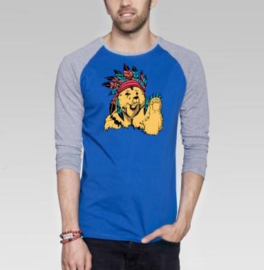 Медведь индеец - Футболка мужская с длинным рукавом синий / серый меланж, индеец, Популярные