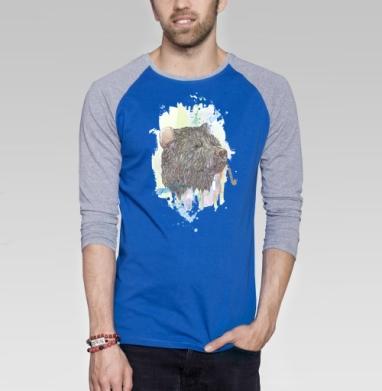 Медвед - Футболка мужская с длинным рукавом синий / серый меланж, акварель, Популярные