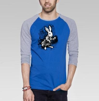 Заяц из алисы в стране чудес - Футболка мужская с длинным рукавом синий / серый меланж, Иллюстация