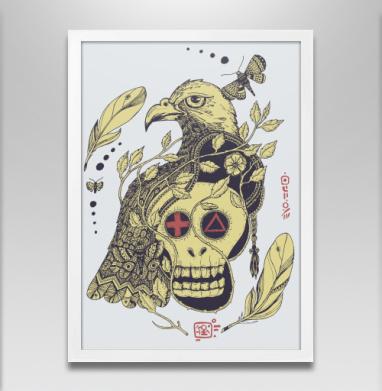Птица бессмертия желтая - Постер в белой раме, этно