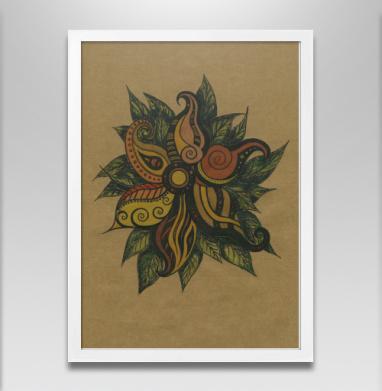 Этнический цветок - Постер в белой раме, этно