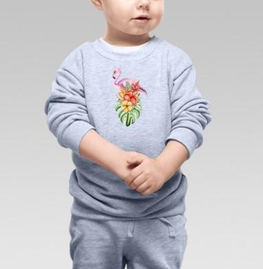 Cвитшот Детский серый меланж - Фламинго