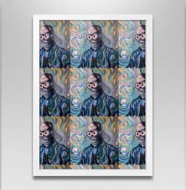 Ван Гог Ван Гогу - Бендер - Постер в белой раме, робот