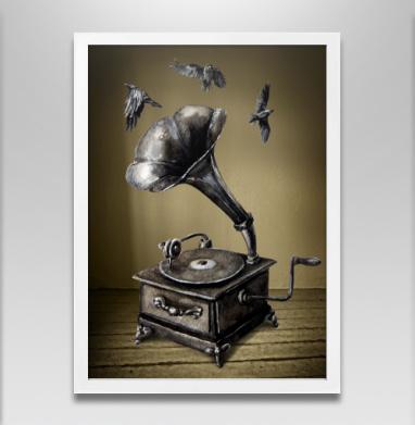 Музыка винтаж - Постер в белой раме, ретро