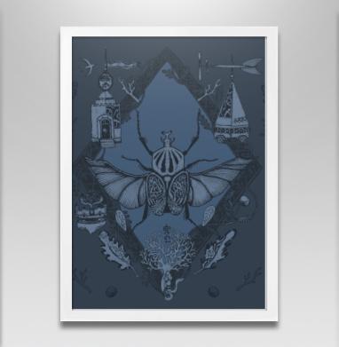 Жук-голиаф темно-синий - Постер в белой раме, Крылья