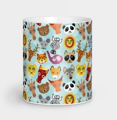Животные панда олень жираф зебра слон лев кот волк лошадь енот лиса, Кружка