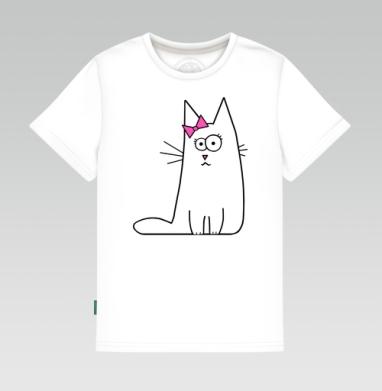 Детская футболка белая 160гр - Котики (жен.)