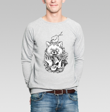 Щегол и лисица - Купить мужские свитшоты с татуировками в Москве, цена мужских свитшотов с татуировками  с прикольными принтами - магазин дизайнерской одежды MaryJane