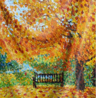 Осенняя скамья - живопись, Популярные