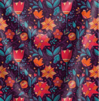 Теплая, летняя ночь Птички, листья и цветы. - Печать на ткани