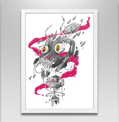 Взрыв в мясной лавке - Постер в белой раме, дым
