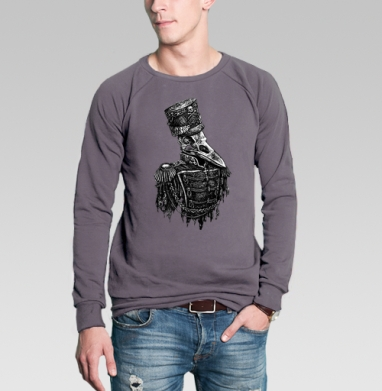 Свитшот мужской без капюшона тёмно-серый - Враноголовый