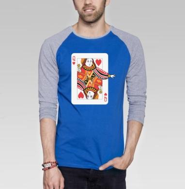 Футболка мужская с длинным рукавом синий / серый меланж, синий / серый меланж - Футболки на заказ, майки на заказ