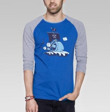 Музыкальный корабль - Футболка мужская с длинным рукавом синий / серый меланж, музыка, Популярные