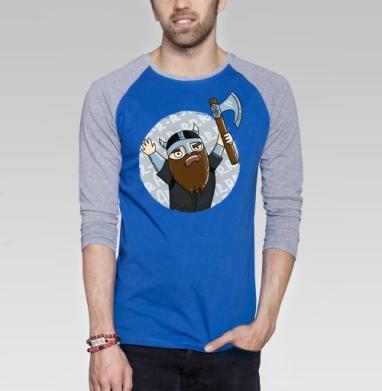 Викинги   (муж.) - Футболка мужская с длинным рукавом синий / серый меланж, для влюбленных, Популярные