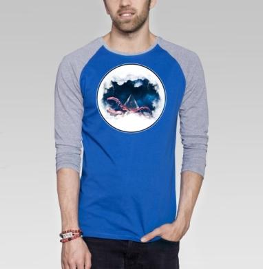 Космический осминог - Футболка мужская с длинным рукавом синий / серый меланж, киты, Популярные