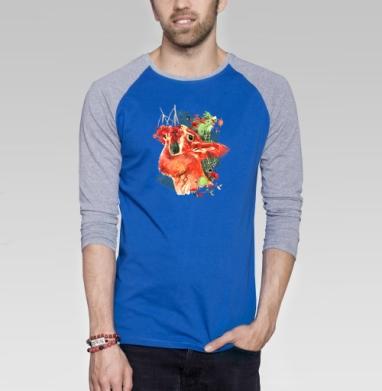 Красная белка с рябиной - Футболка мужская с длинным рукавом синий / серый меланж, Осень