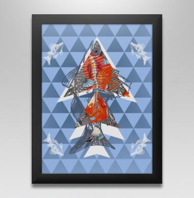Анатомическая рыба-треугольник, Постер в чёрной раме