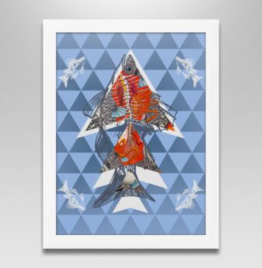Анатомическая рыба-треугольник, Постер в белой раме