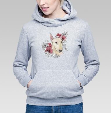 Бультерьер и маки - Купить детские толстовки с собаками в Москве, цена детских толстовок с собаками  с прикольными принтами - магазин дизайнерской одежды MaryJane