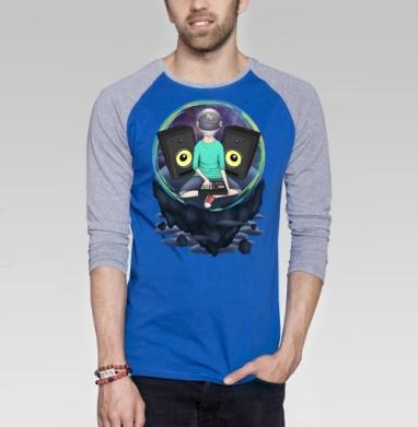 Нейронавт - Футболка мужская с длинным рукавом синий / серый меланж, музыка, Популярные