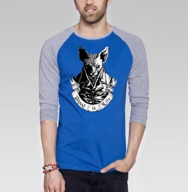 Плохая киса - Футболка мужская с длинным рукавом синий / серый меланж, кошка, Популярные