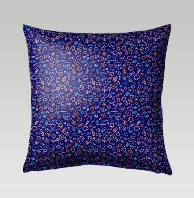 Цветные закорючки на синем фоне - Подушки с принтом