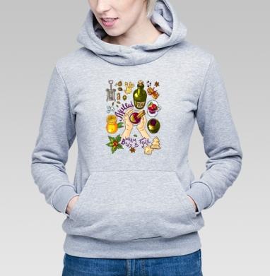 Глинтвейн - Толстовка Женская серый меланж 340гр, теплая, Купить толстовки победителей