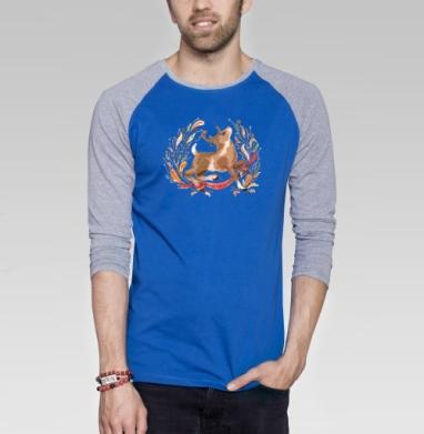 Олень зимой  - Футболка мужская с длинным рукавом синий / серый меланж, Иллюстация