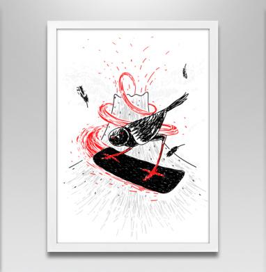 Черный воробей - Постер в белой раме, спорт