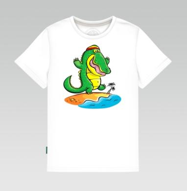 Детская футболка белая - Крокодил на Ямайке